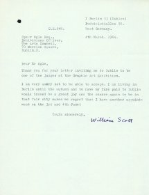 Letter from William Scott to Speer Ogle, Exhibitions Officer, the Arts Council. [ William Scott Foundation 2012]